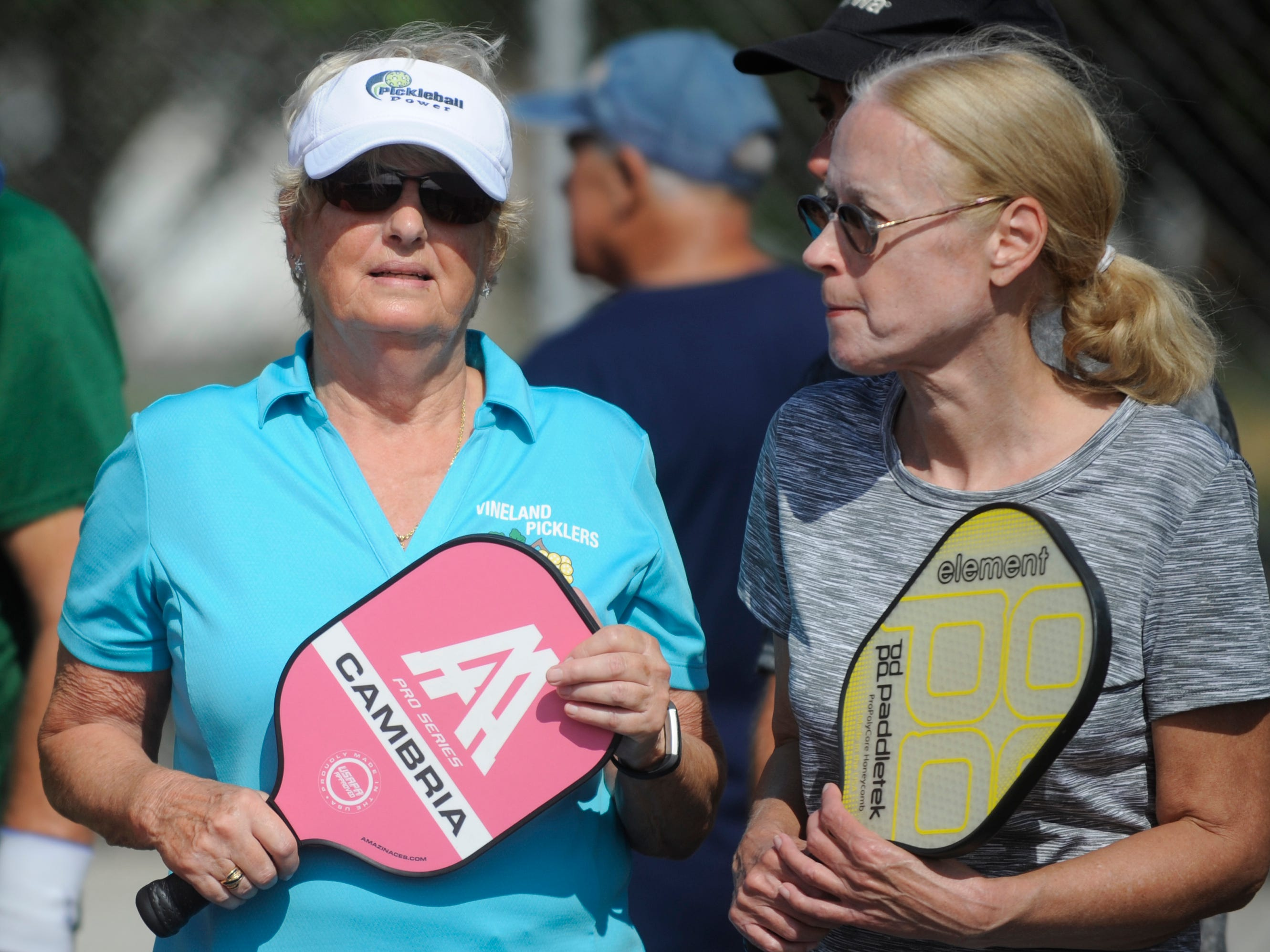 Vineland seniors have a pickleball league at Pagluighi Park. Pickleball is a racket sport that combines elements of badminton, pingpong and tennis.