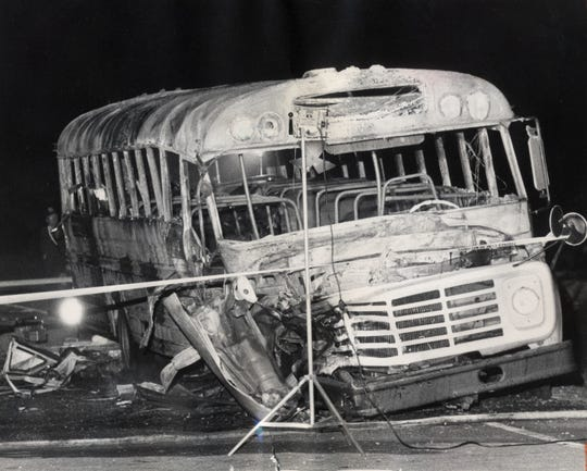 A drunk driver collided May 14, 1988, with a church bus on Interstate 71 near Carrollton, Kentucky. Twenty- seven people died after the bus, a former school bus, erupted in flames and the occupants were trapped.
