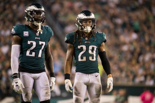Eagles' Malcolm Jenkins (27) and Avonte Maddox (29) in action against the Minnesota Vikings.