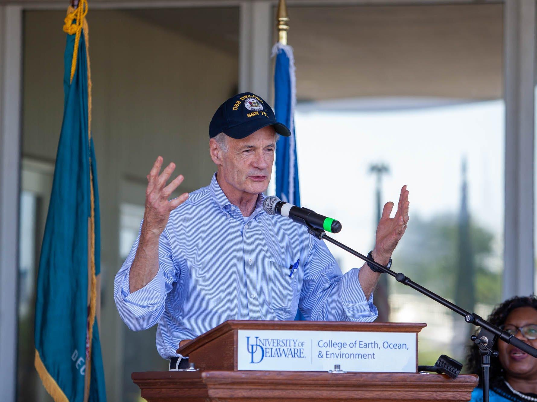 Sen. Tom Carper speaks Sunday during UD Coast Day.