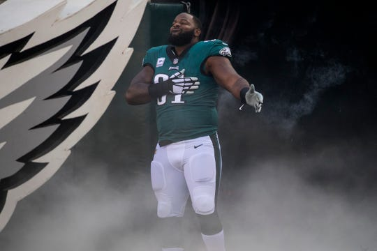 Eagles' Fletcher Cox (91) takes to the field during introductions at an October 2018 game at Lincoln Financial Field.