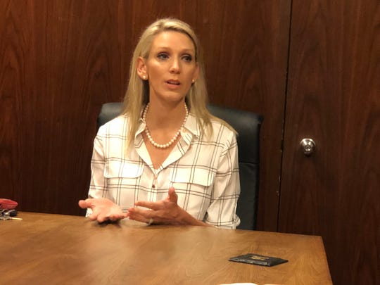Susan Grisél, candidate for an at-large seat on the Wichita Falls Independent School District Board of Trustees, meets with Times Record News Editorial Board Monday morning.