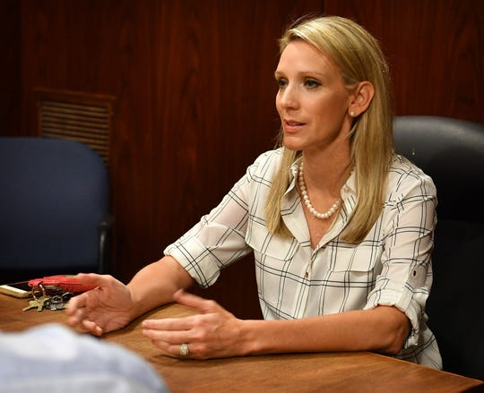 Wichita Falls ISD School Board candidate Susan Grisel talks about her ideas for improving the WFISD during a meeting with the Times Record News Editorial Board.