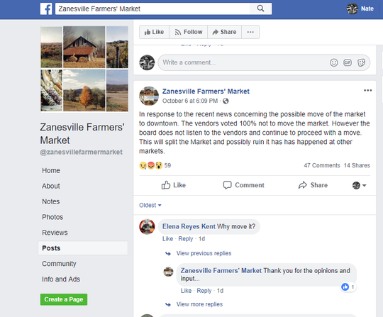 "A post on the old farmers market Facebook page states that vendors ""voted 100% not to move the market."""