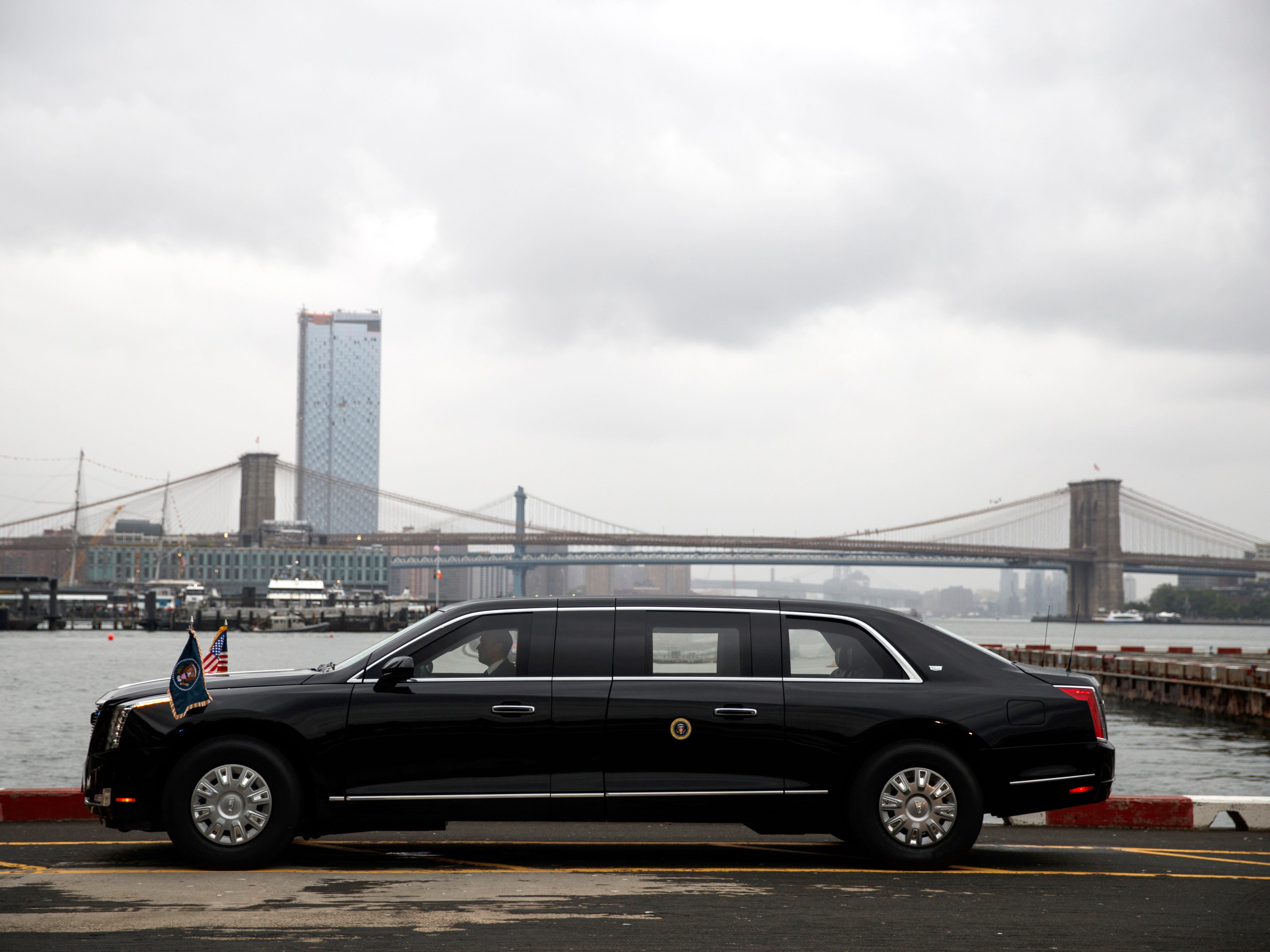 The presidential limo sits at the Downtown Manhattan Heliport, Sept. 23, 2018, in New York.