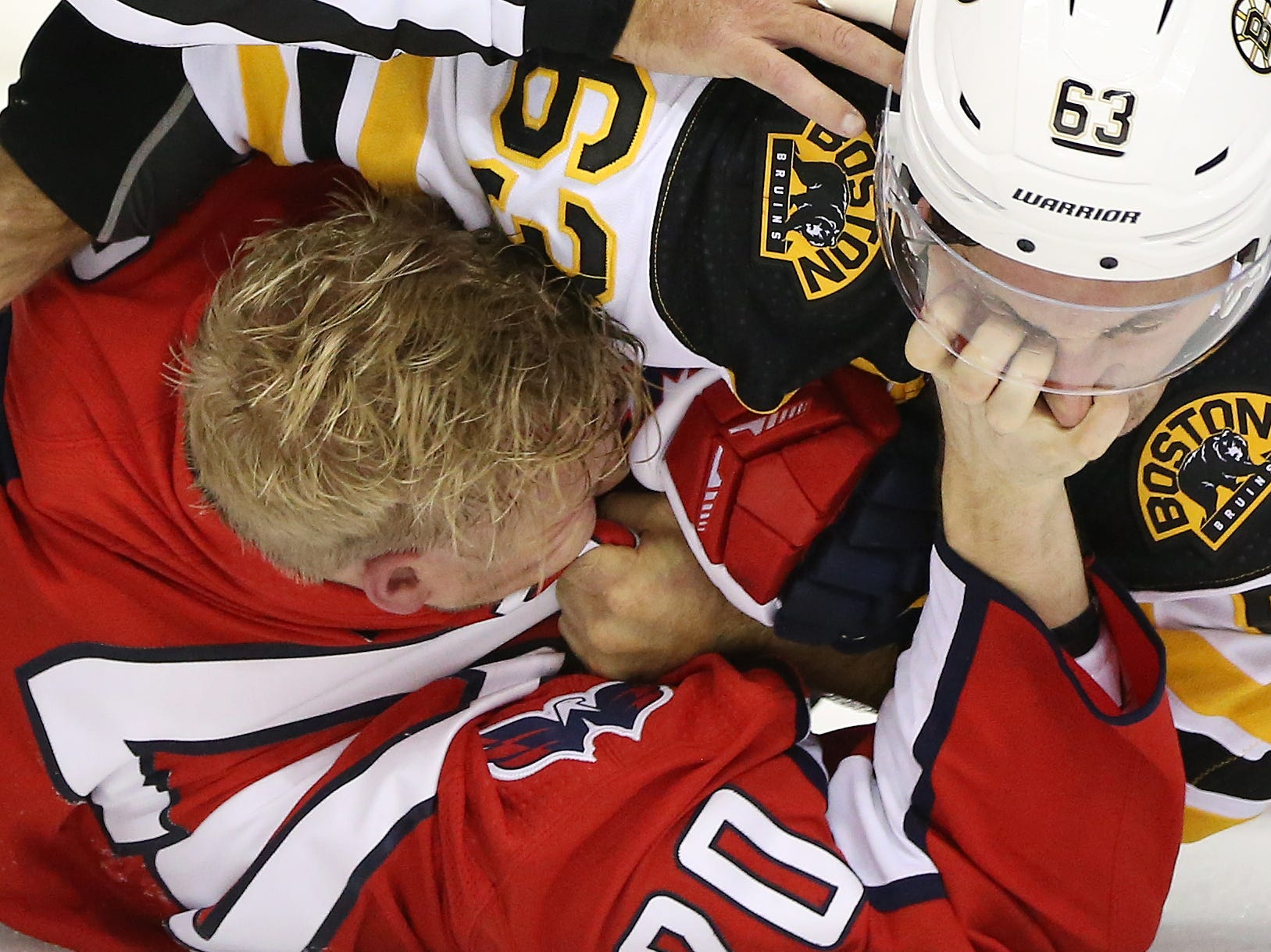 Oct. 3: Capitals' Lars Eller vs. Bruins' Brad Marchand.