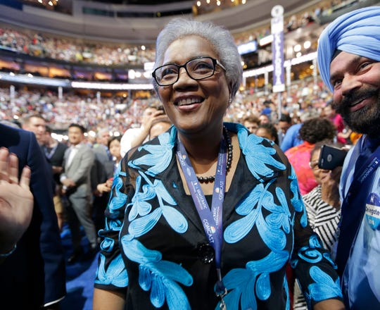 Then-acting Democratic National Committee Chairwoman Donna Brazile during the 2016 Democratic National Convention on July 27, 2016 in Philadelphia.
