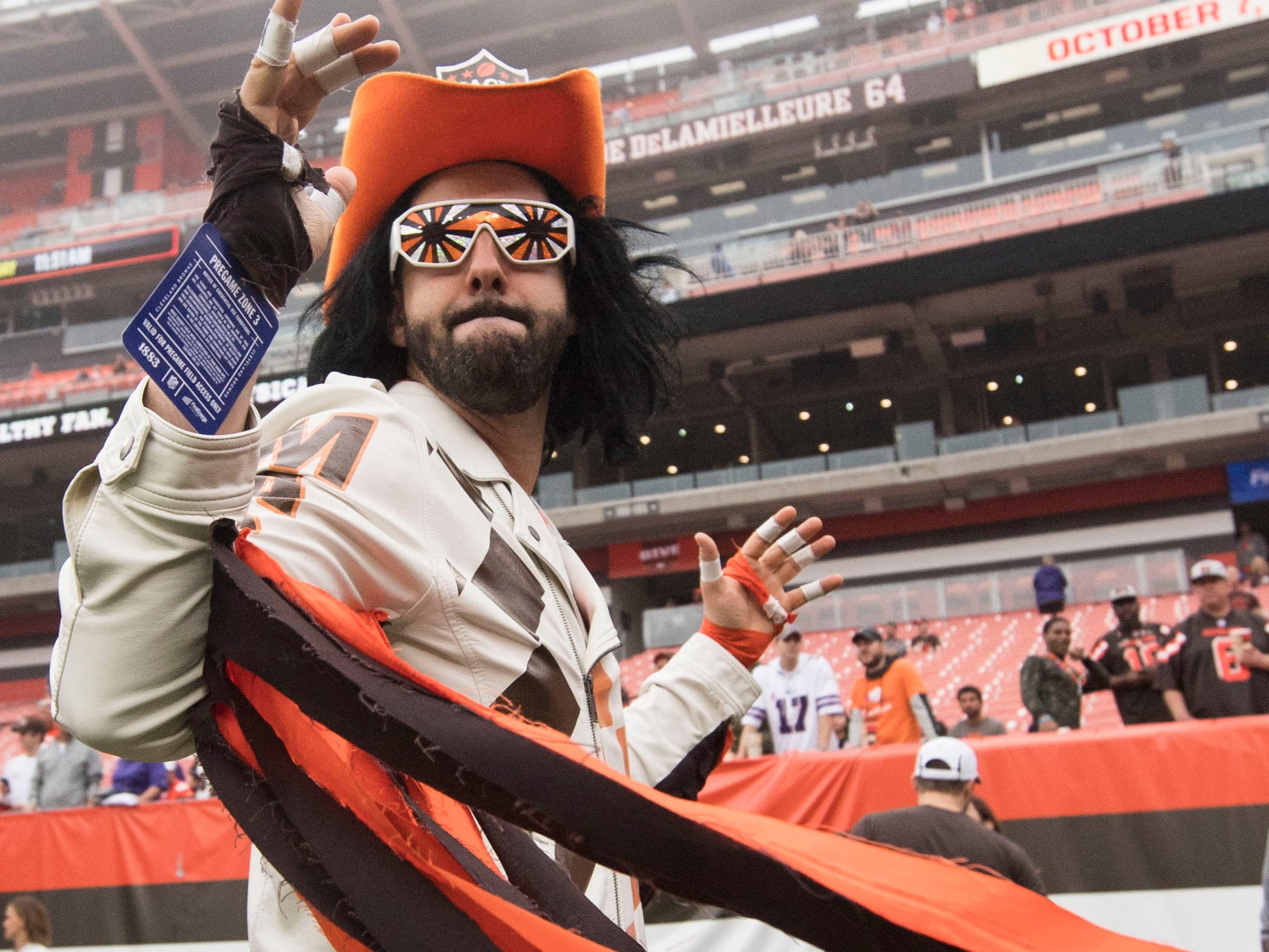 "Dan Lancy of Youngstown, Ohio, stands on the sidelines as the ""Macho Fan"" in support of the Cleveland Browns before the game between the Browns and the Baltimore Ravens at FirstEnergy Stadium."