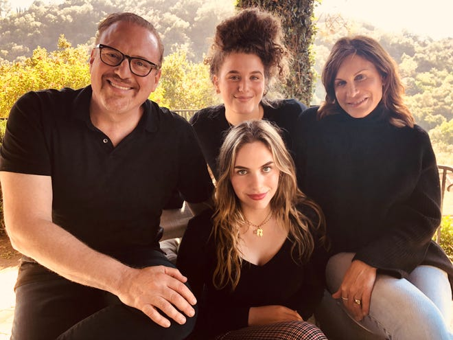 The Lotman family with, left to right, Jeff, Gianna, Anna Sophia (front), and  Thérèse, in Los Angeles, California (October 2018).