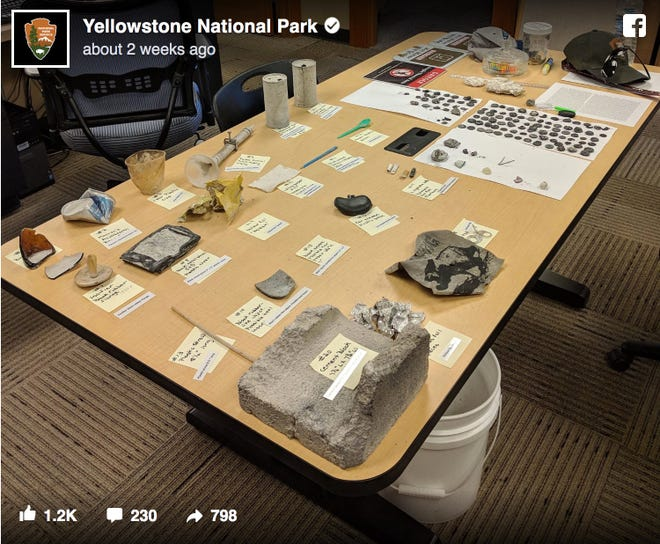 A photo posted by Yellowstone National Park shows man-made debris found after an eruption.