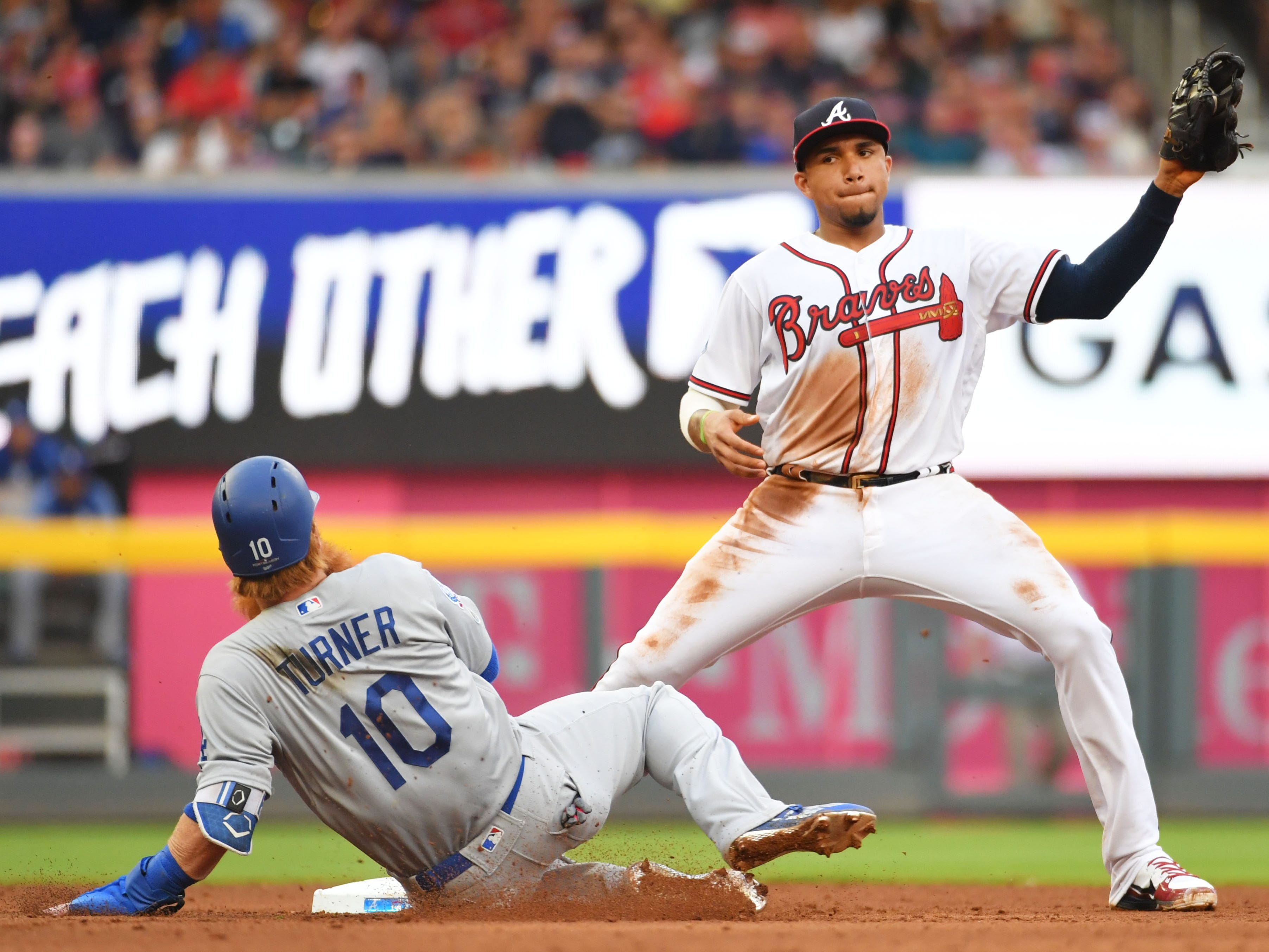 NLDS Game 4: Johan Camargo forces out Justin Turner at second base.