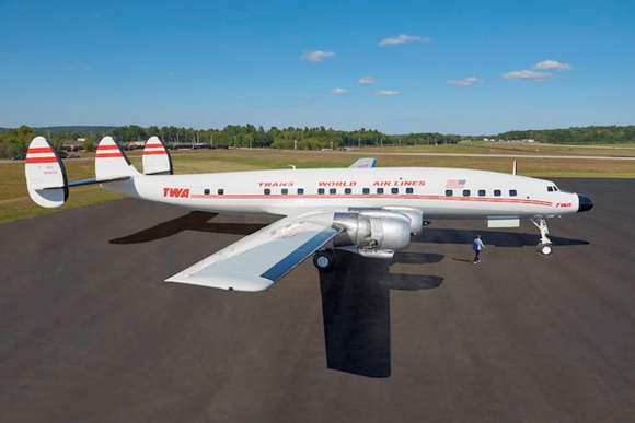 "This Lockheed Constellation ""Connie"" L-1649A Starliner jet is being flown from Maine to New York City in October where it will become a cocktail lounge at the soon-to-open TWA Hotel."