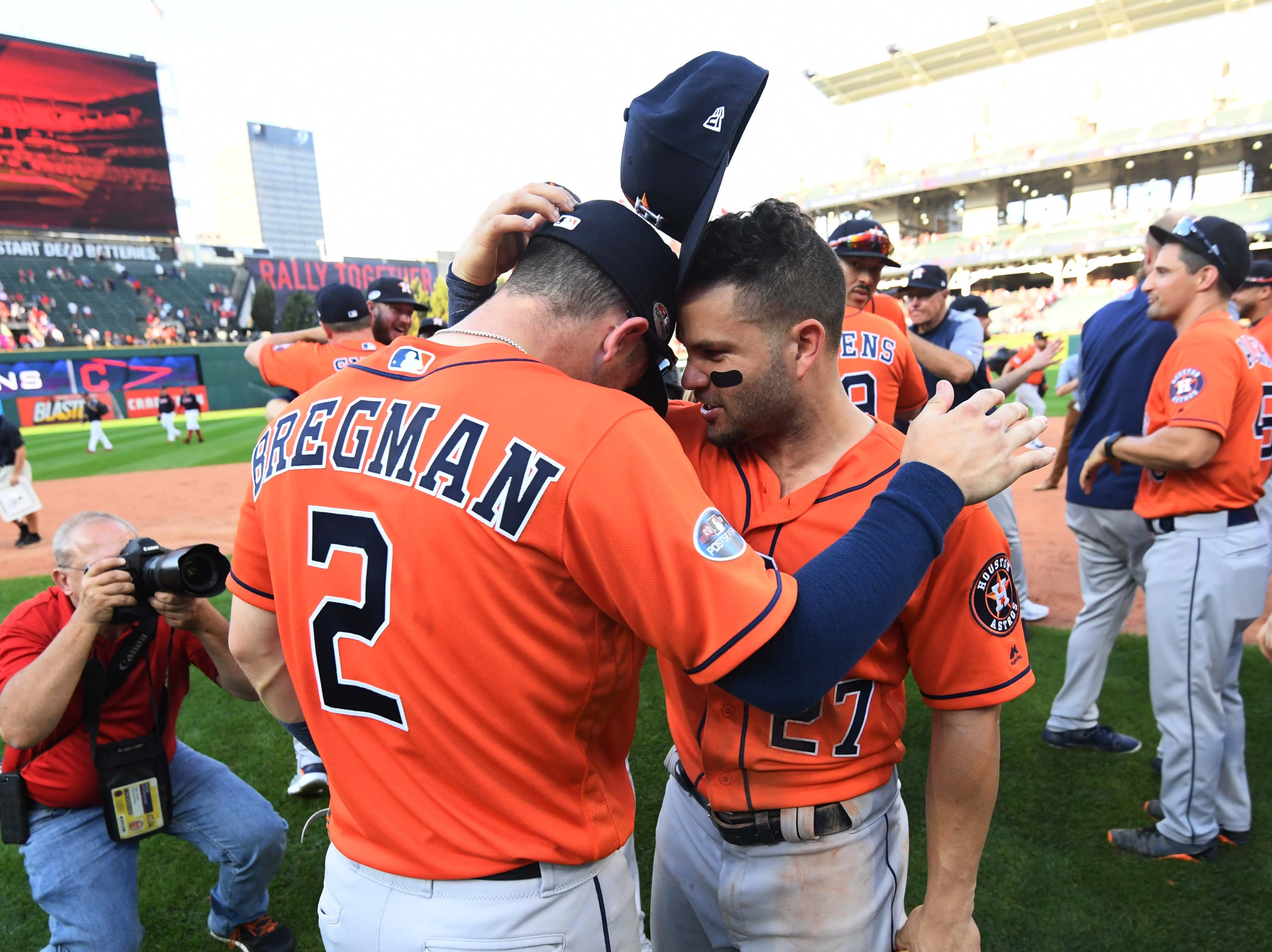 ALDS Game 3: Houston's Alex Bregman and Jose Altuve celebrate after the series-clinching win.