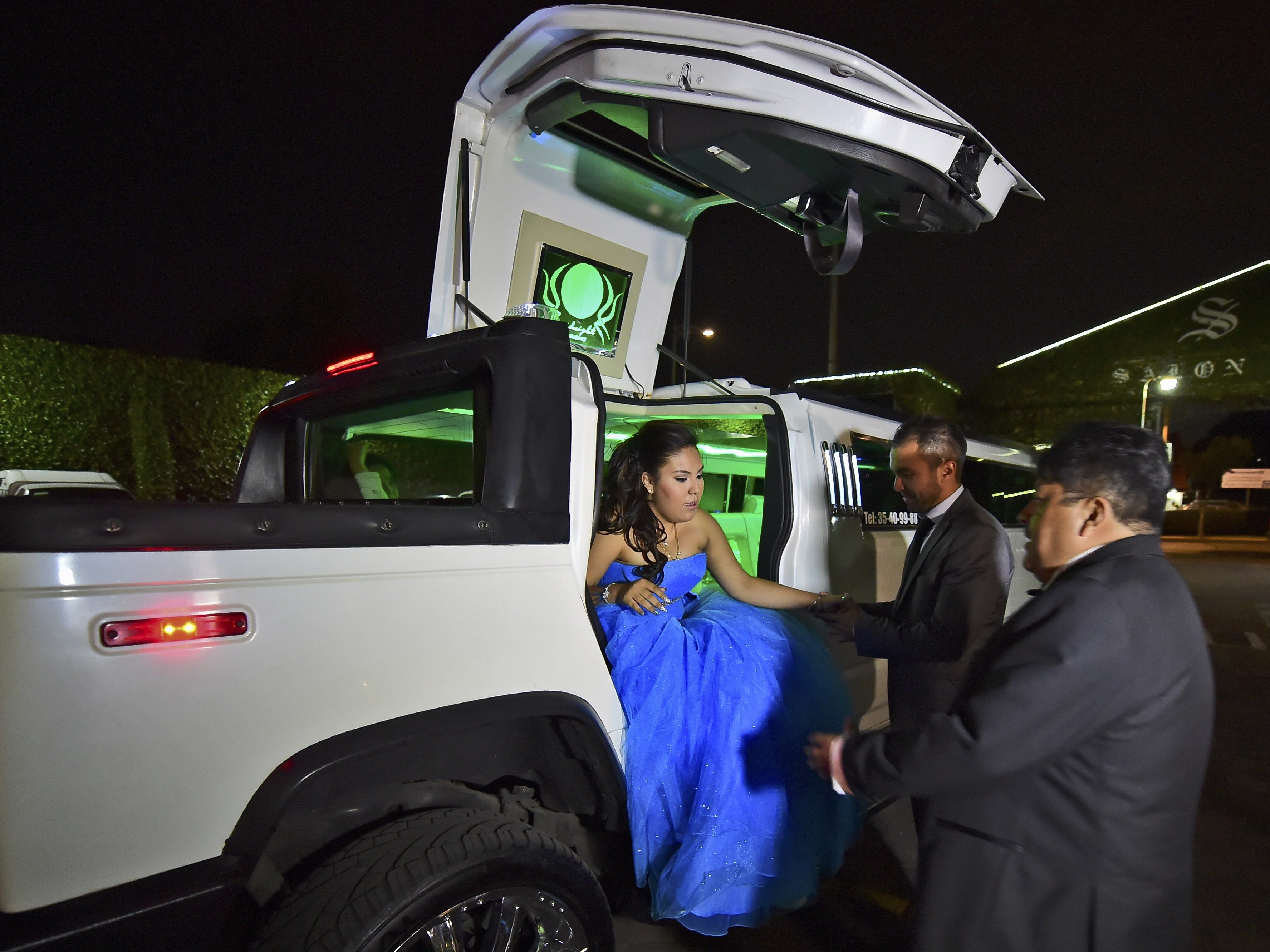 This limo arrives at a celebration celebration party in Mexico City, April 11, 2015.