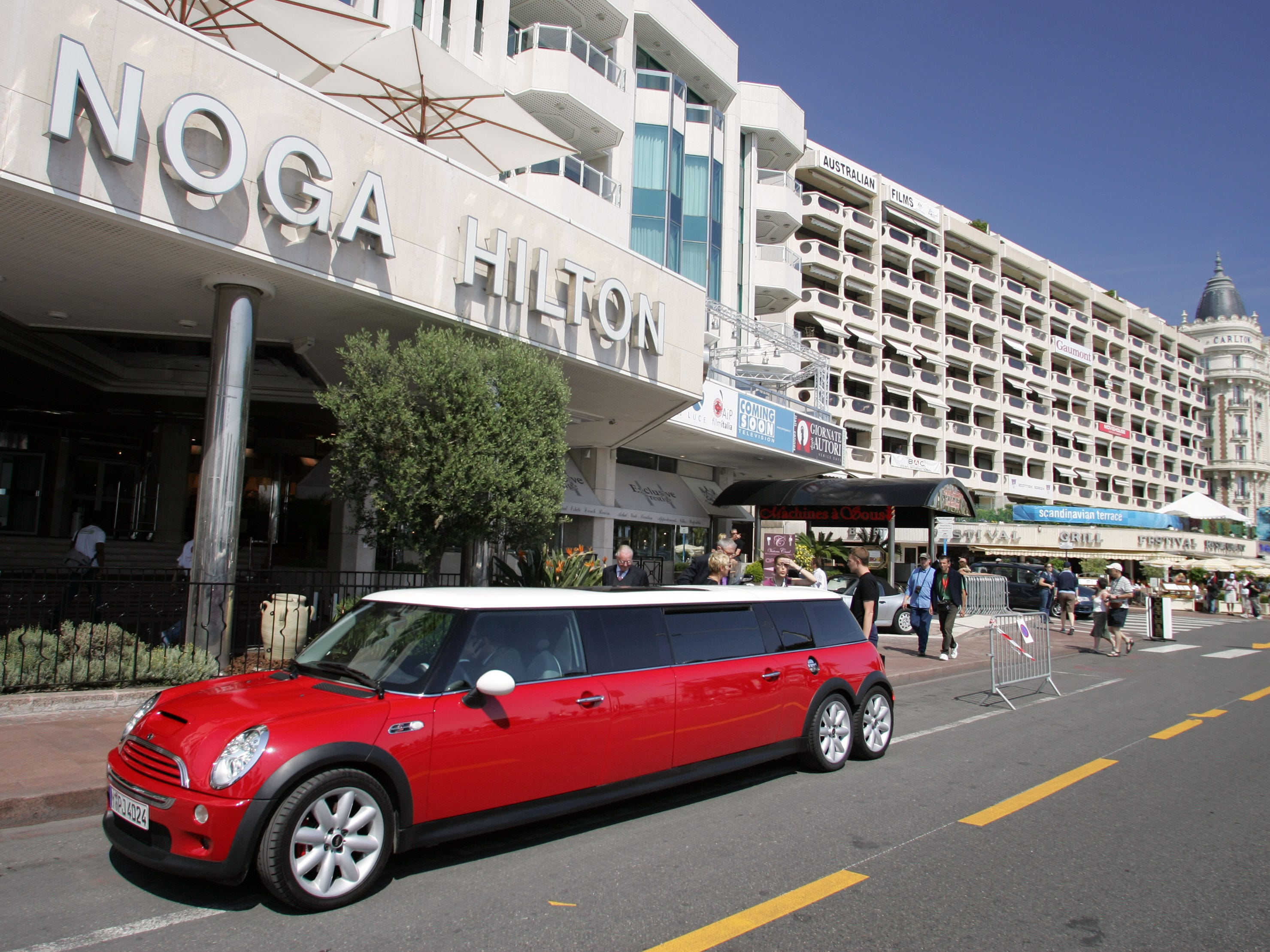 A Mini limousine drives past the Hilton hotel in Cannes, France, May 10, 2005.