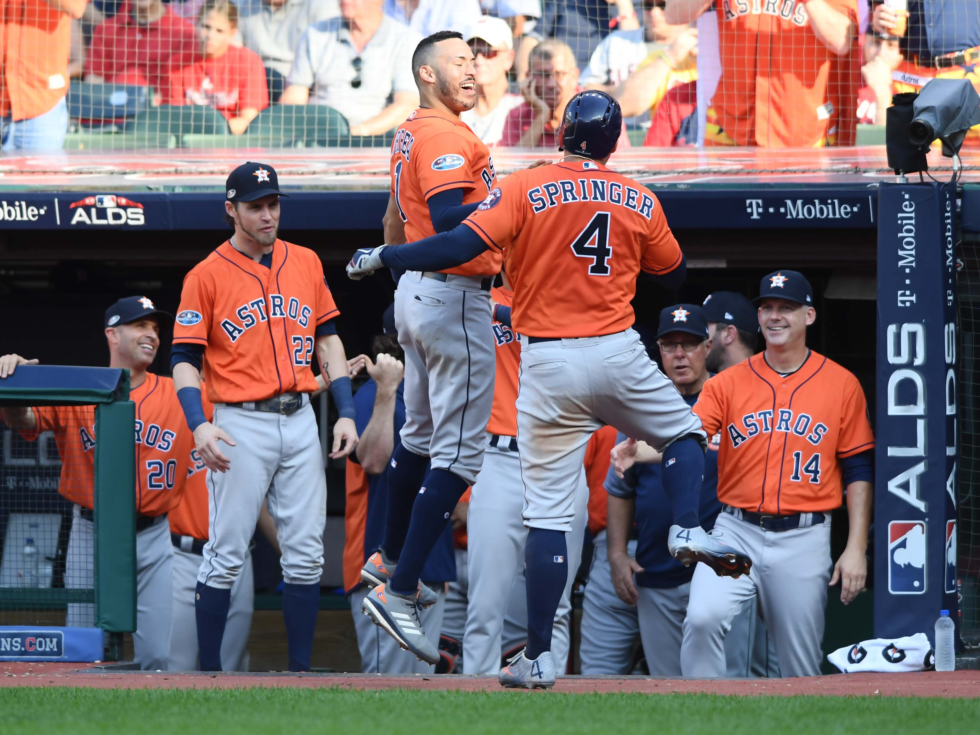 ALDS Game 3: George Springer celebrates his eighth-inning home run.