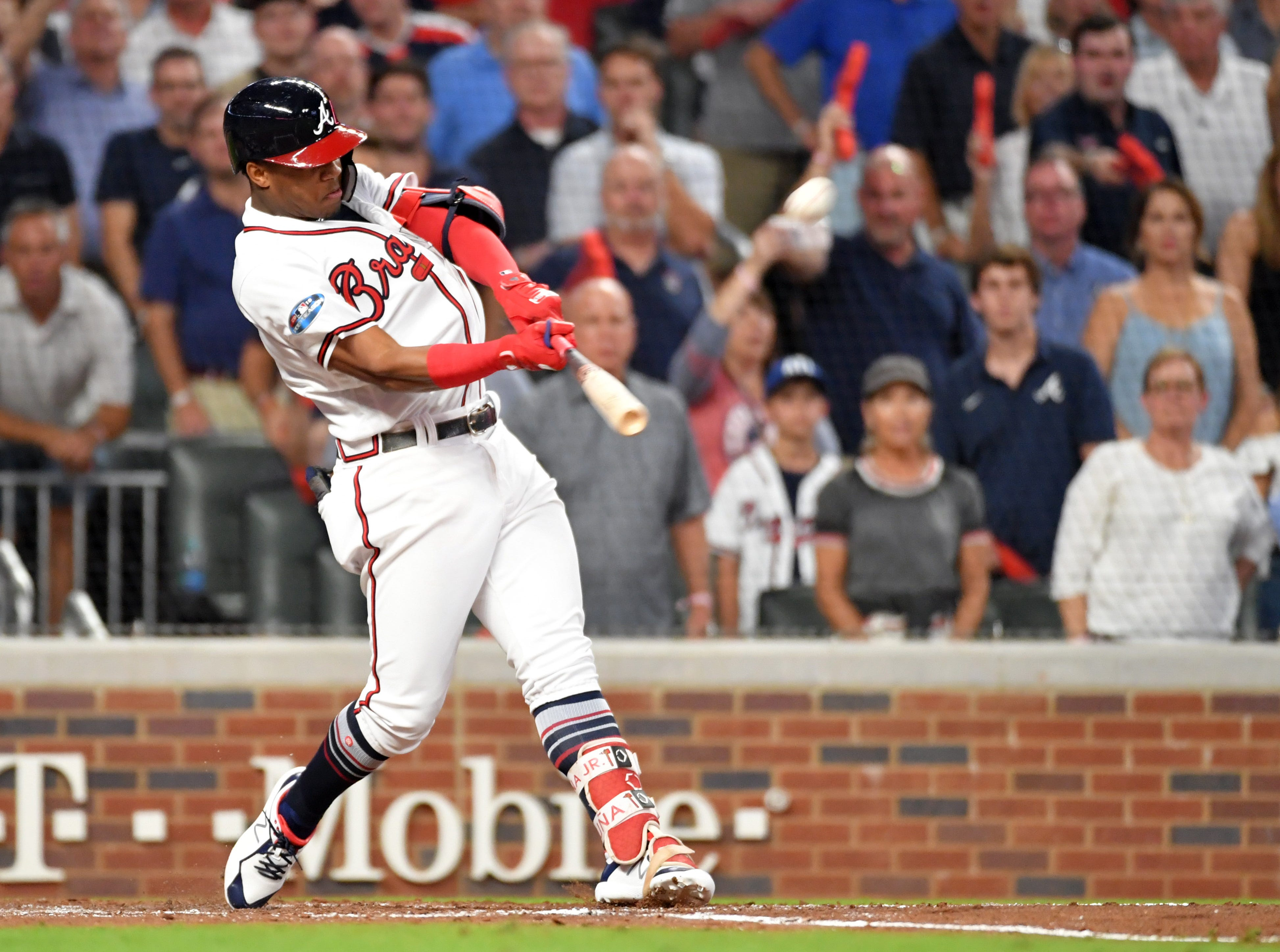 NLDS Game 3: Braves left fielder Ronald Acuna hits a grand slam in the second inning against the Dodgers.