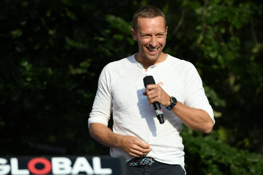 Singer-songwriter Chris Martin performs onstage during the 2018 Global Citizen Concert at Central Park on September 29, 2018 in New York City.  His girlfriend Dakota Johnson was also in attendance.