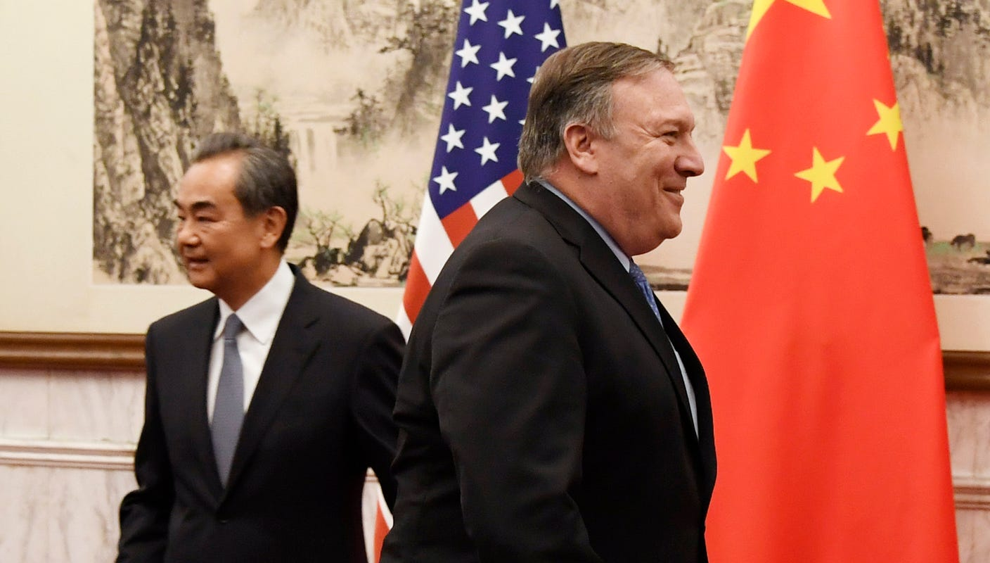 Image result for Images of American officials in China including Secretary of State Mike Pompeo