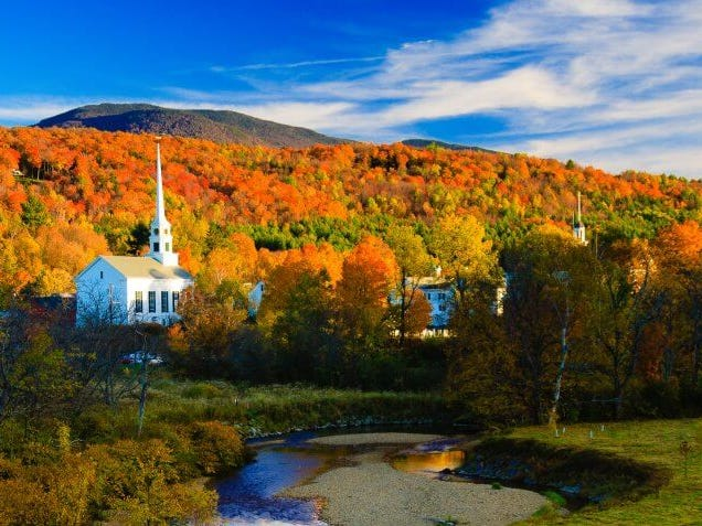 """Vermont: Stowe is the alpine """"Ski Capital of the East,"""" so you might think of it as a winter destination, but there are plenty of places to play, dine and shop year-round. In the summer, enjoy the Green Mountain views while hiking, biking or boating; in the fall, enjoy the legendary autumn foliage on a scenic drive or walk along the Stowe Recreation Path; and in the spring, take advantage of Vermont's best weather of the year with lots of time spent outdoors. If you want to save money on your trip, don't go in December, which is the most expensive time to visit the state of Vermont. Peace Pups Guided Hiking Tour: $75."""