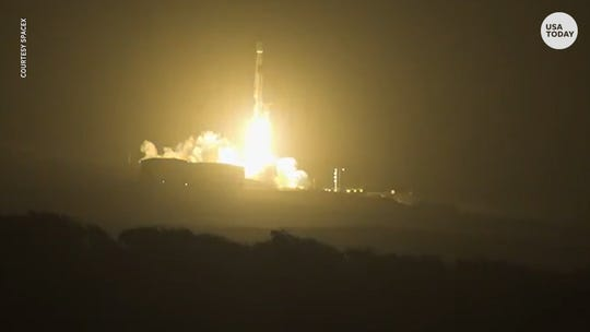 SpaceX rocket lights up California sky