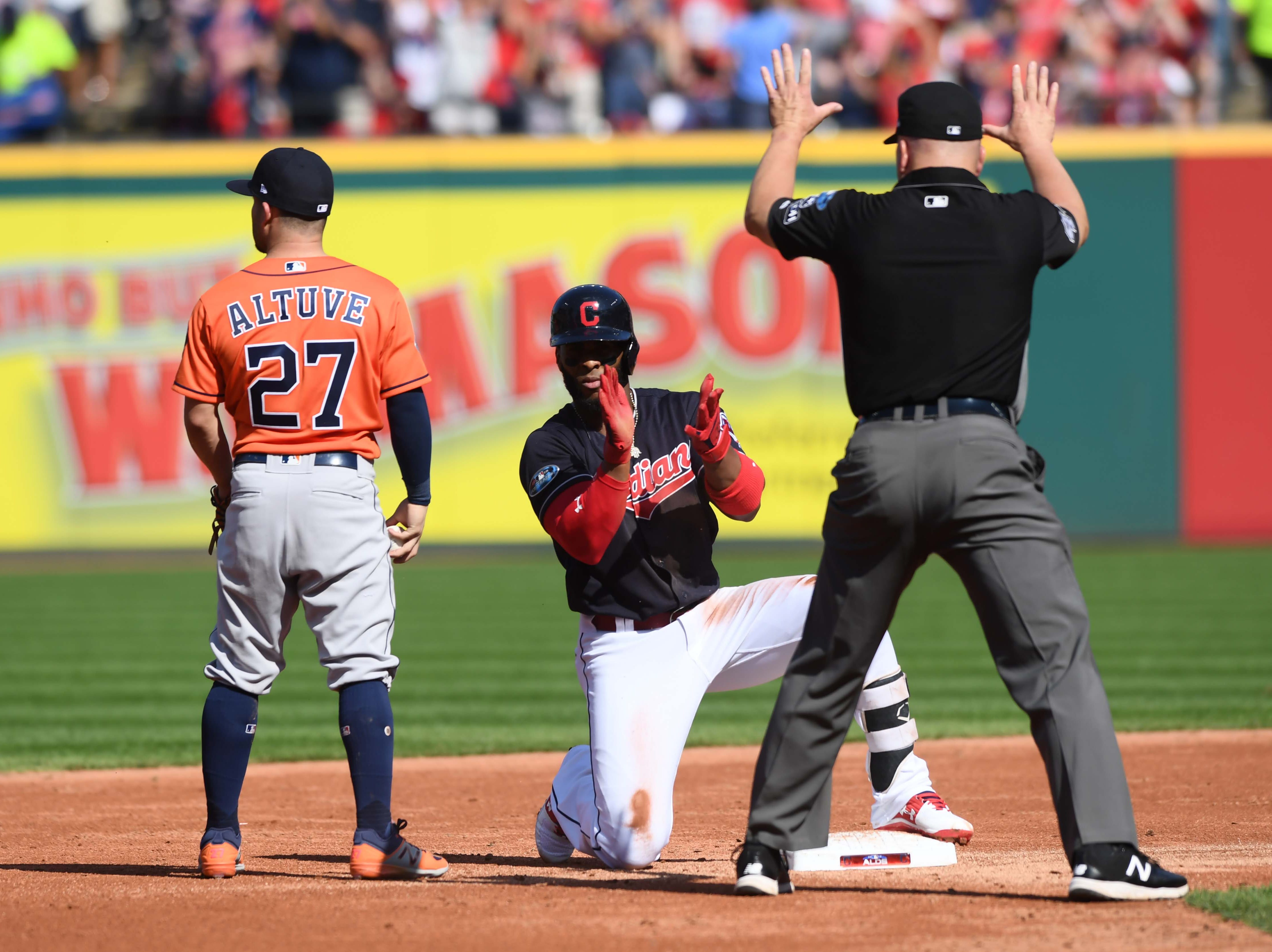 ALDS Game 3; Yandy Diaz reacts after doubling in the second inning.