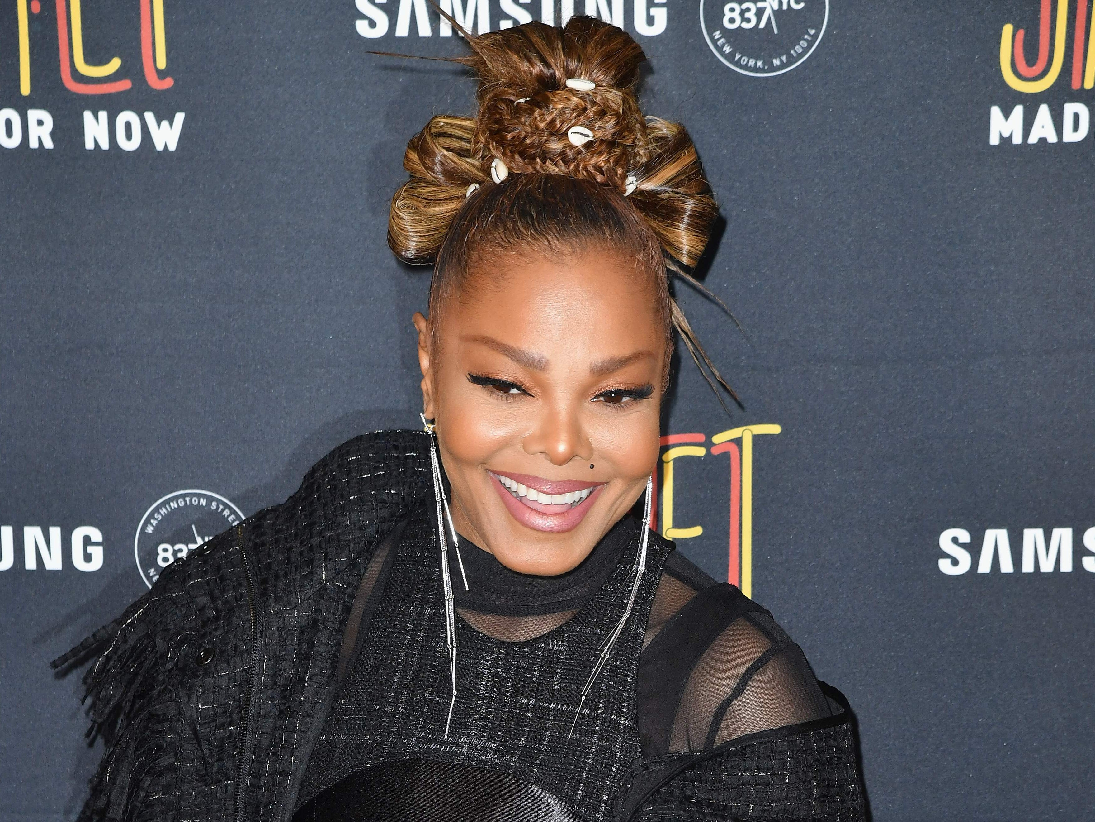 "Janet Jackson. Here she attends hers and Daddy Yankee's single release party for the song ""Made For Now"" at Samsung 837 in New York on Aug. 17, 2018."