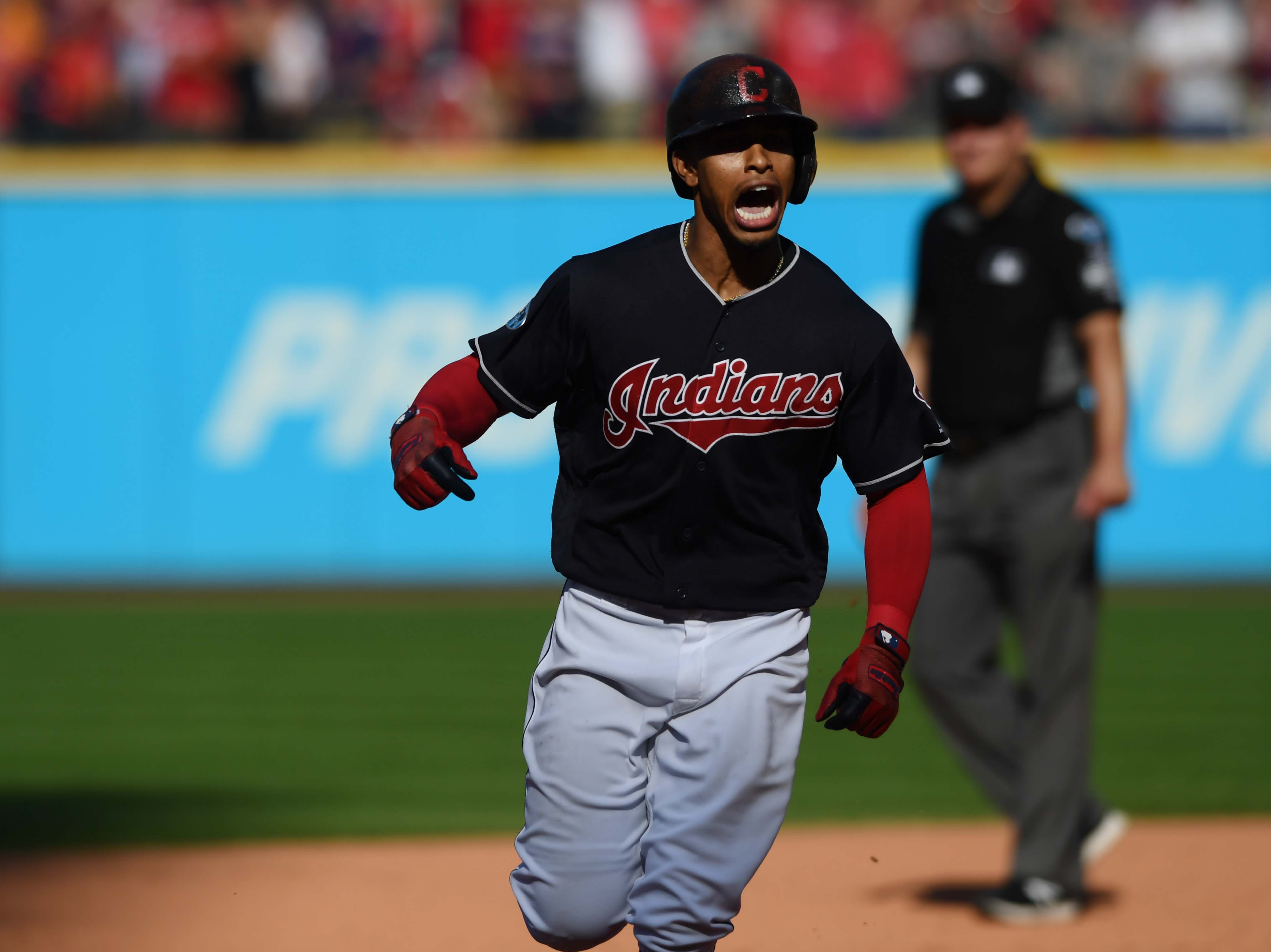 ALDS Game 3: Francisco Lindor celebrates his home run in the fifth inning.