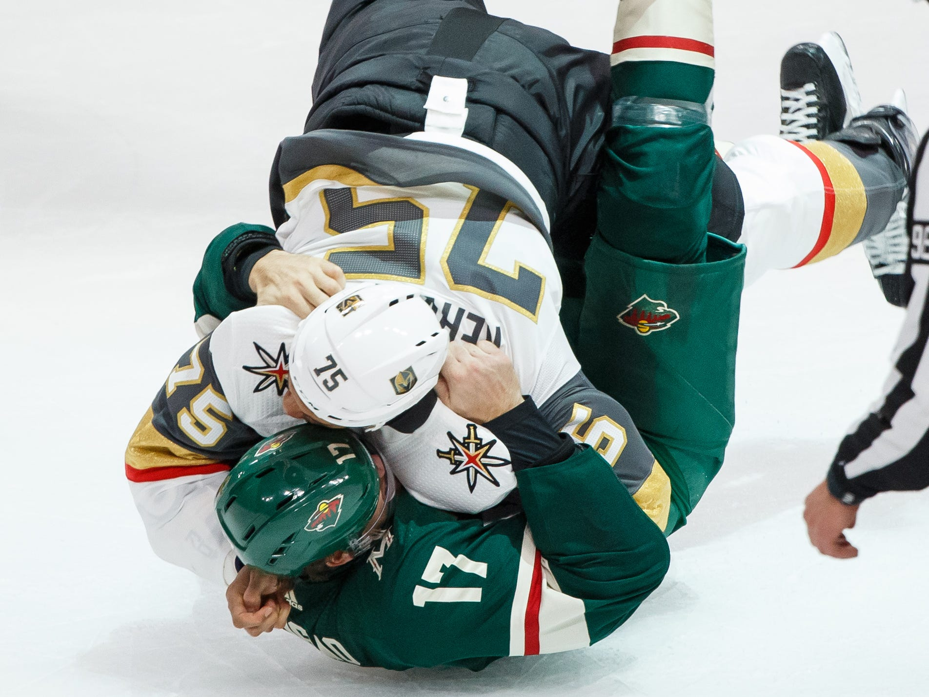 Oct. 6: Golden Knights' Ryan Reaves vs. Wild's Marcus Foligno.