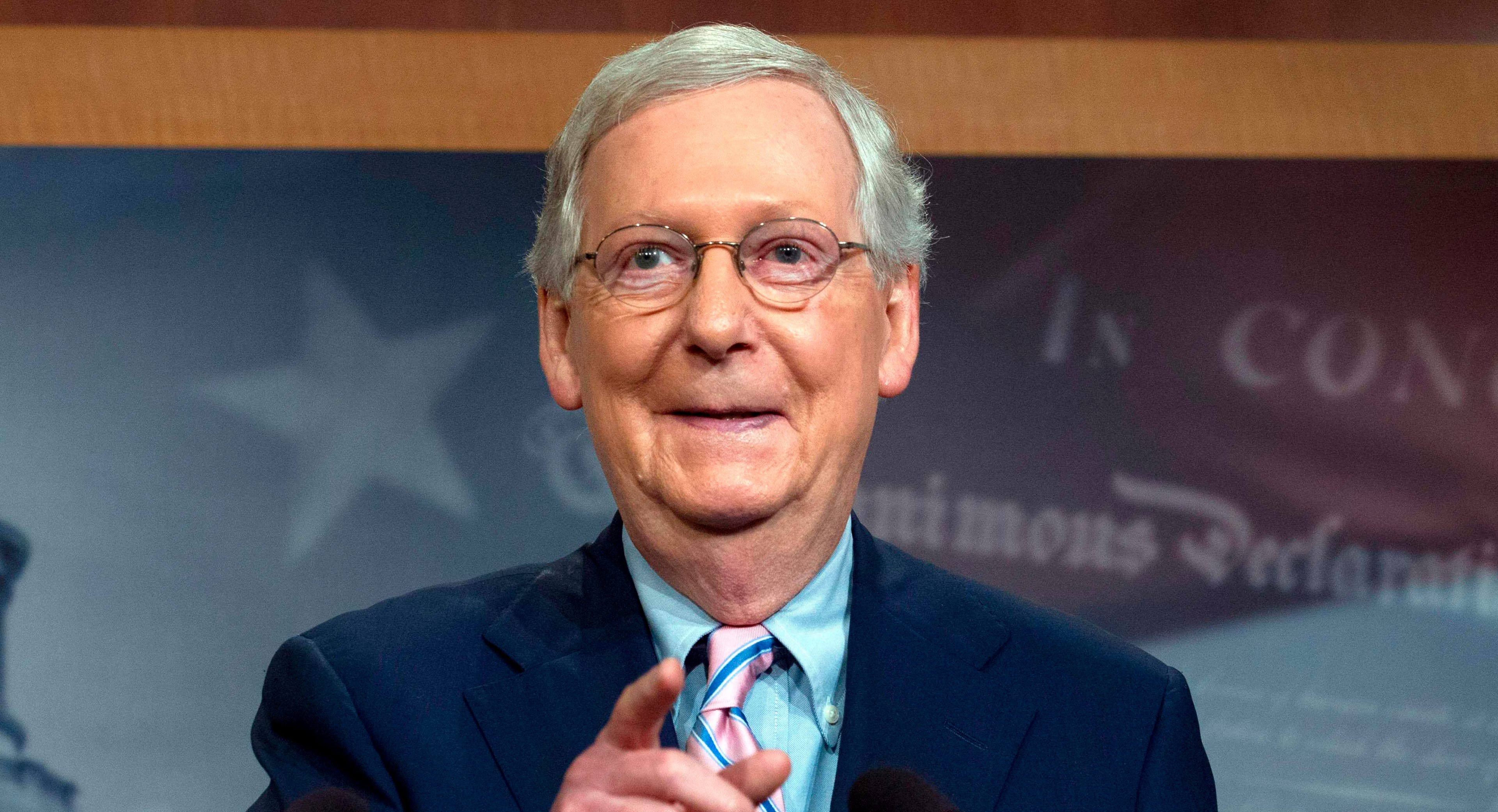 In this file photo taken on Oct. 6, 2018,  Senate Majority Leader Mitch McConnell, R-Ky., speaks during a news conference following the confirmation vote of Supreme Court Justice Brett Kavanaugh on Capitol Hill in Washington.