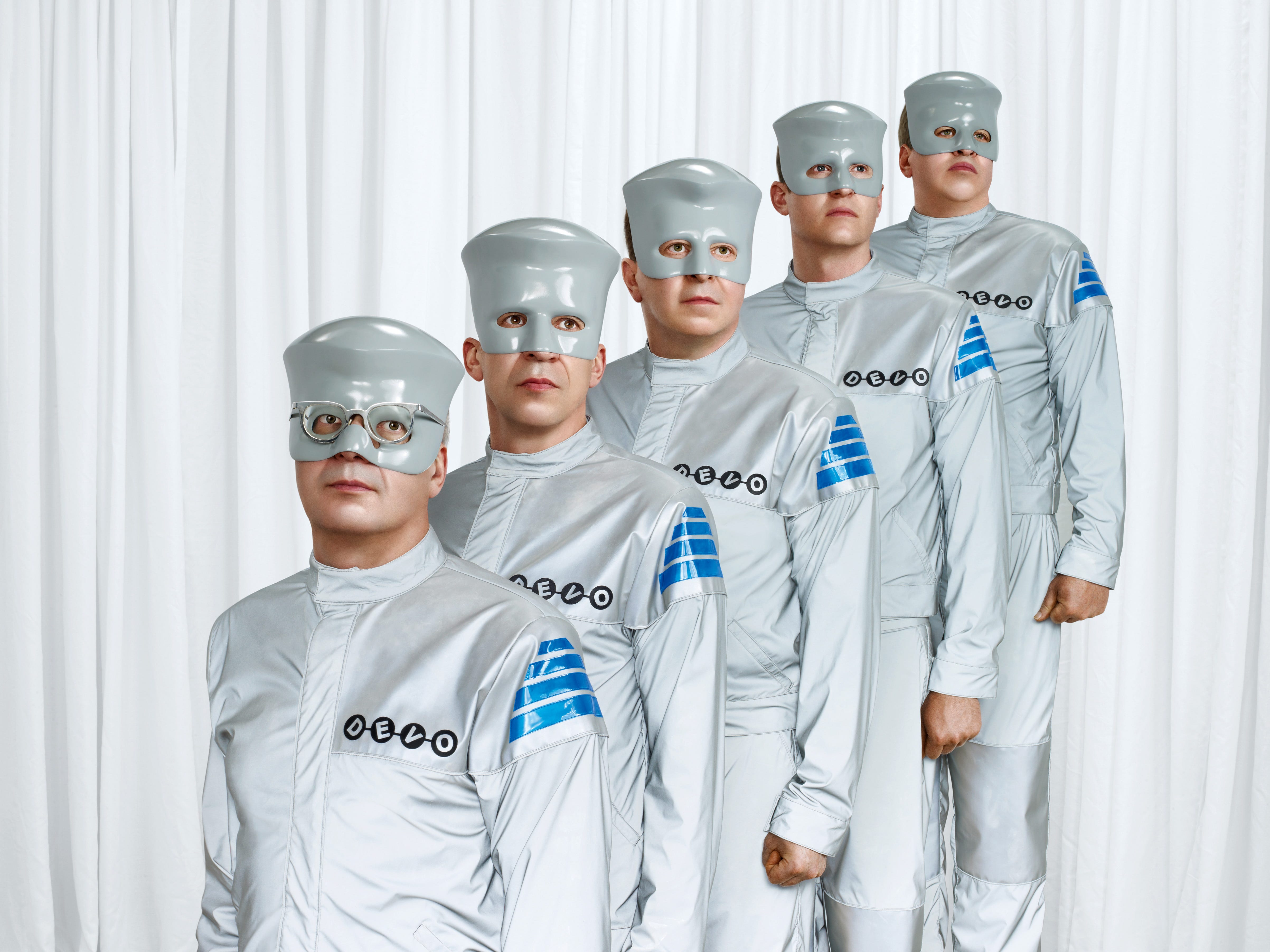 Devo. Members from left are, Mark Mothersbaugh, Bob Mothersbaugh, Jerry Casale, Josh Freese and Bob Casale.