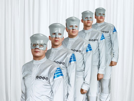 "Publicity photo for ""Something For Everybody."" Devo. Members from left are, Mark Mothersbaugh, Bob Mothersbaugh, Jerry Casale, Josh Freese and Bob Casale."