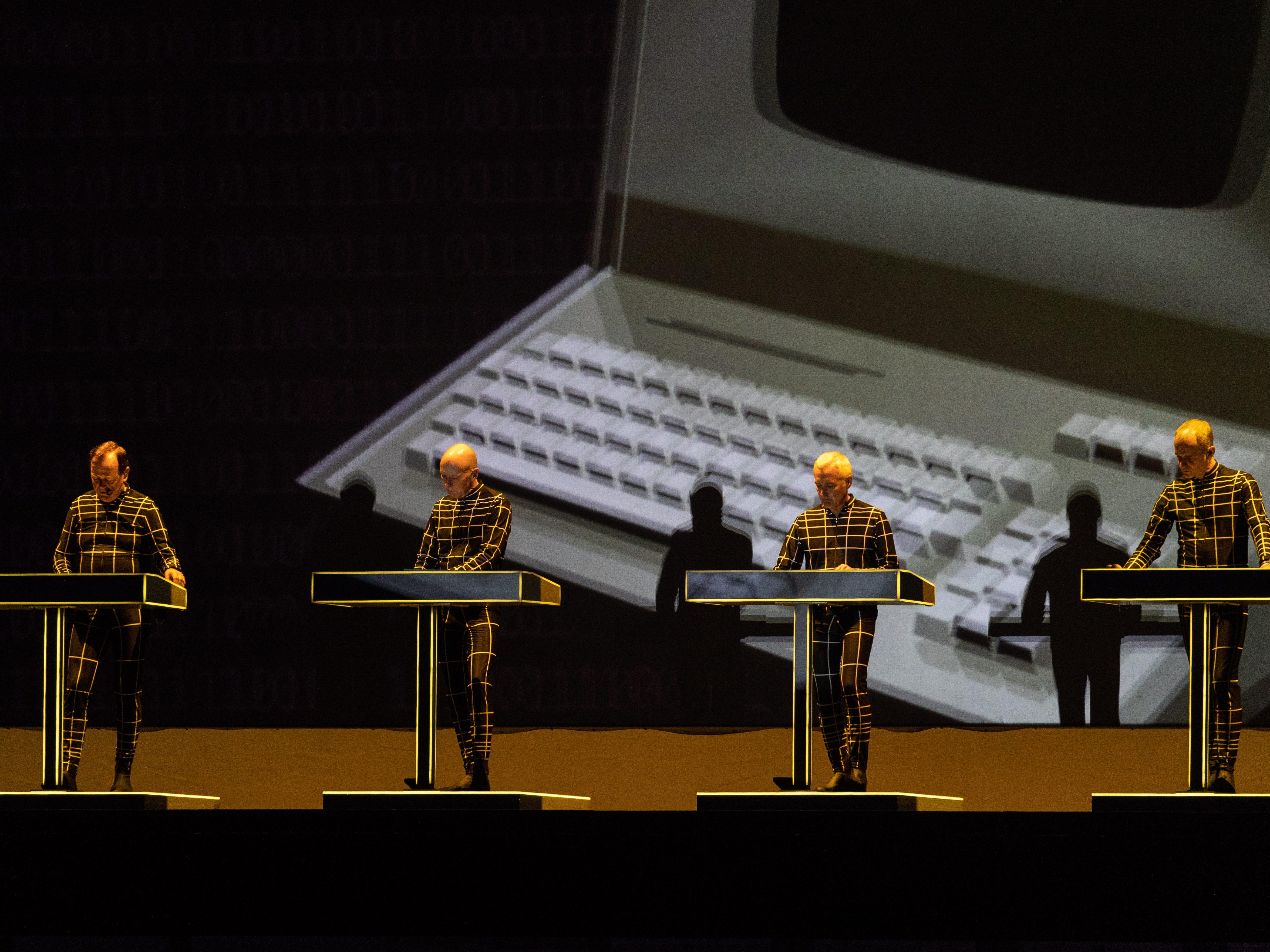 Kraftwerk. Members of German electronic music band perform during the Lollapalooza Berlin 2018 at the Olympiastadion in Berlin, Germany,  Sept. 9, 2018.
