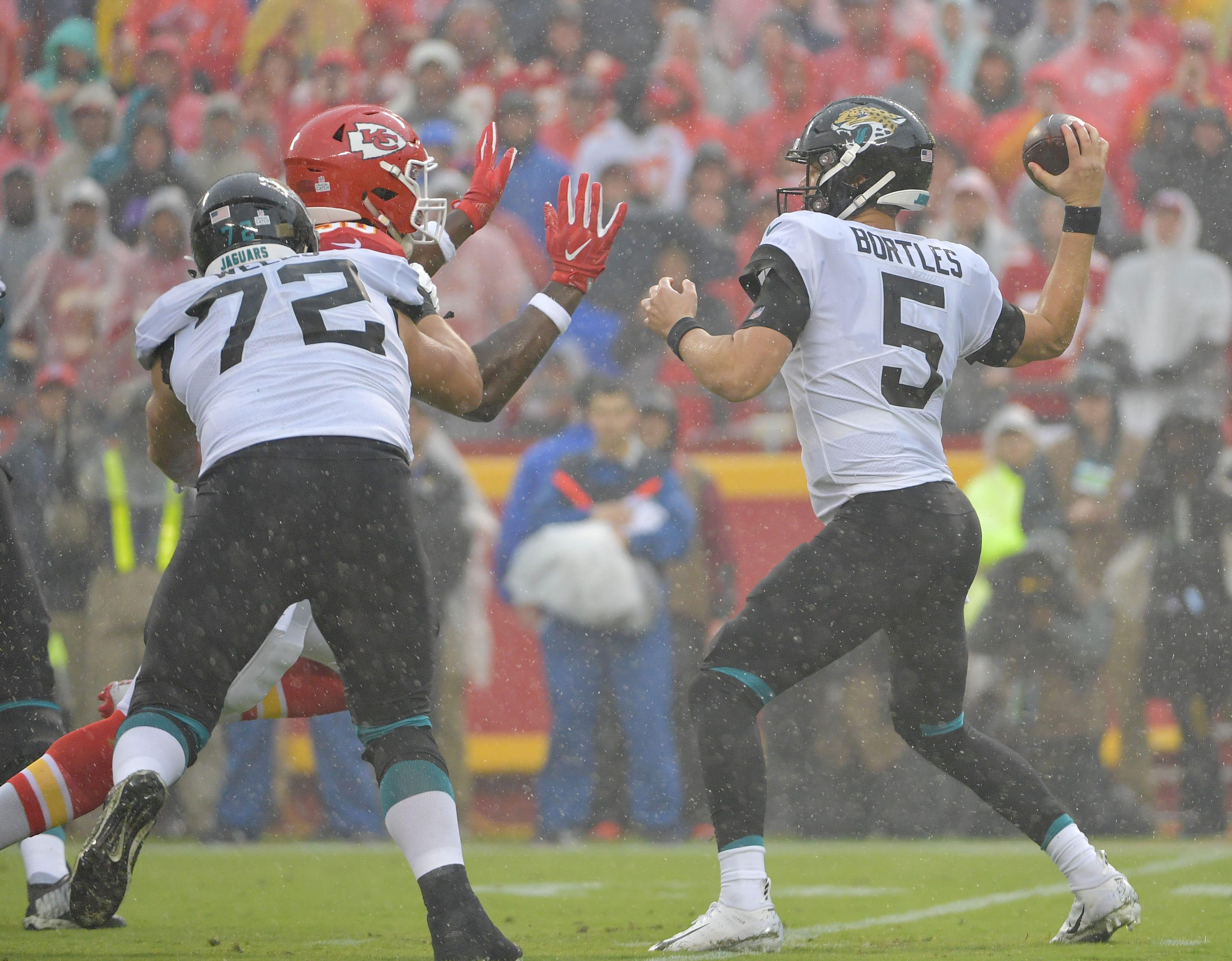 Week 5: Rain falls early in the Kansas City Chiefs' 30-14 win over the Jacksonville Jaguars at Arrowhead Stadium.