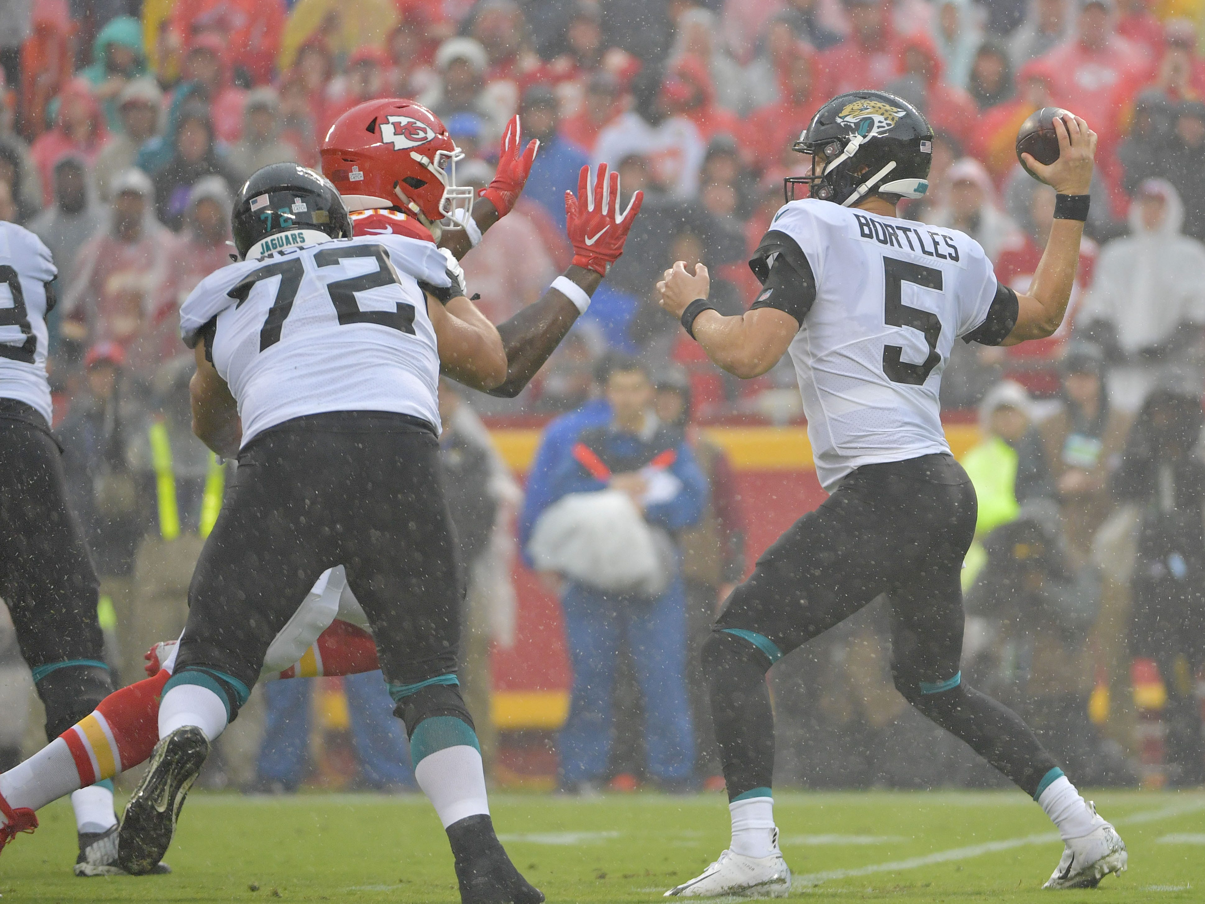 Week 5: Rain falls early in the Kansas City Chiefs' 30-14 win over the Jacksonville Jaguars at Arrowhead Stadium.