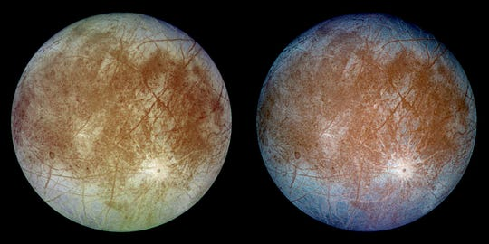 This image shows two views of Europa. The left image shows the approximate natural color appearance of Europa. The image on the right is a false-color composite version that enhance color differences in the predominantly water-ice crust of Europa.