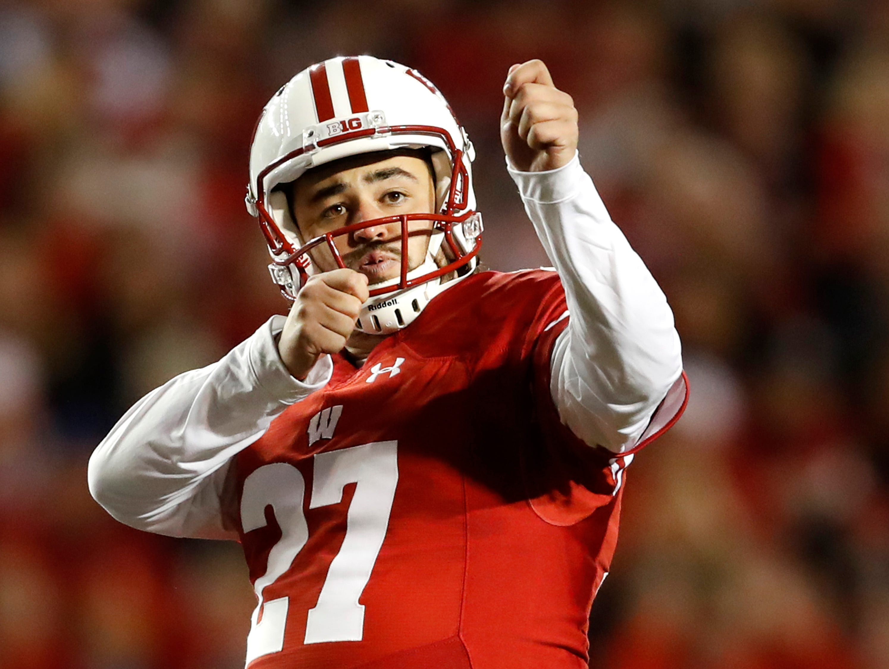 Wisconsin place kicker Rafael Gaglianone celebrates after his first field goal of the game against Nebraska Saturday, Oct. 6, 2018, at Camp Randall Stadium in Madison, Wis.