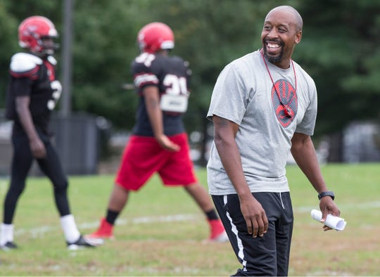 The Neptune Township High School football team has got off to a good start with the help of head coach Tarig Holman. Holman goes through drills with his team during a practice. Neptune, NJTuesday, October, 09, 2018