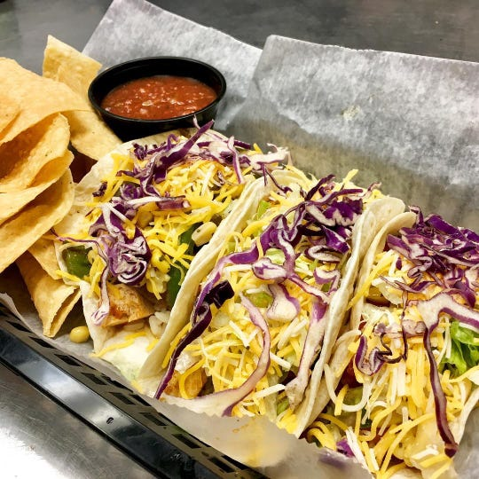A trio of tacos from Tacoholics, which is opening a restaurant in Red Bank.
