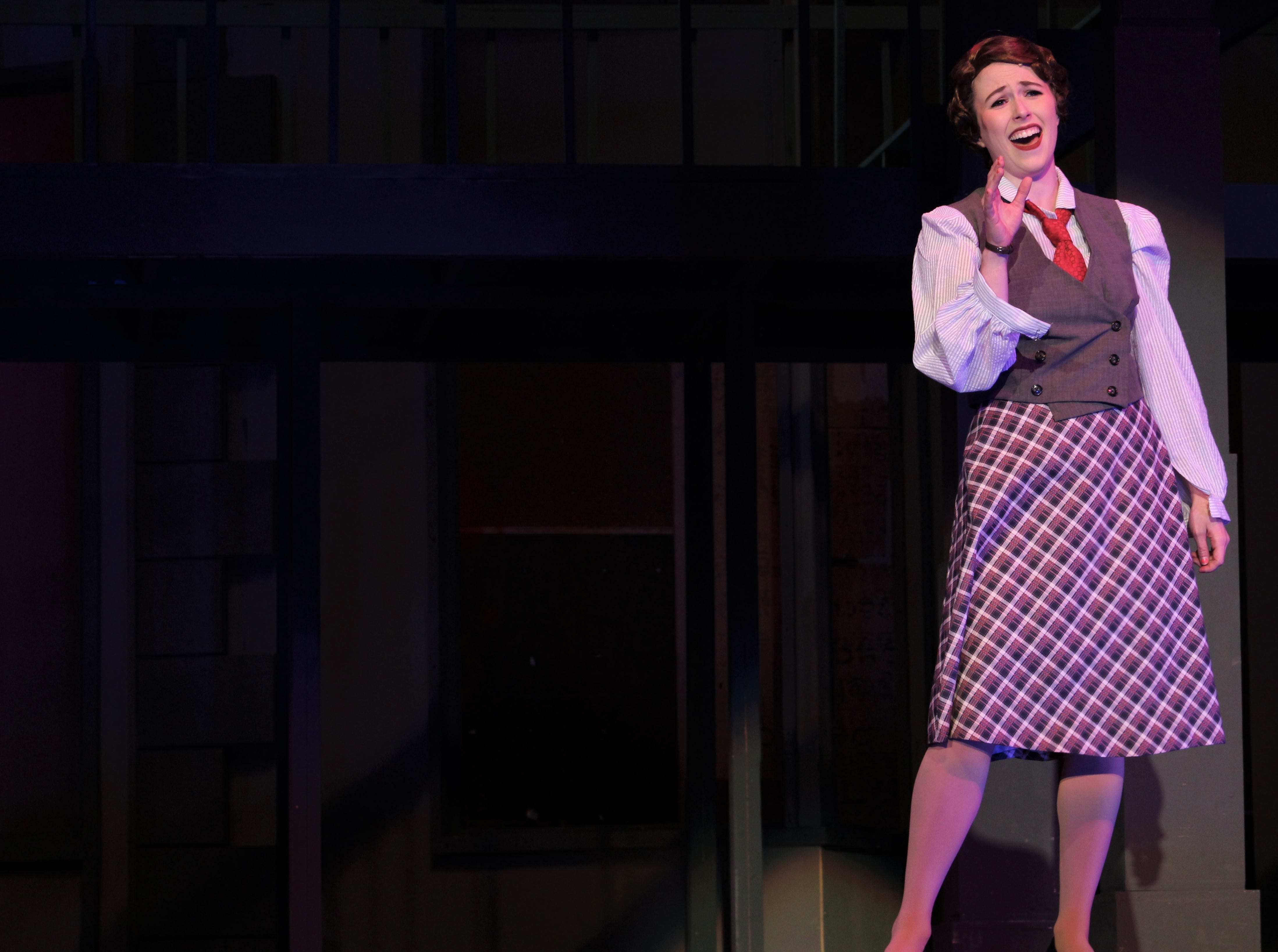 """While her sister Eileen seems to be a blonde magnet to guys, Ruth Sherwood (Payton Reeves) laments her bad luck in meeting men in """"One Hundred Easy Ways"""" in this rehearsal scene from """"Wonderful Town,"""" Abilene Christian's 2018 homecoming musical."""
