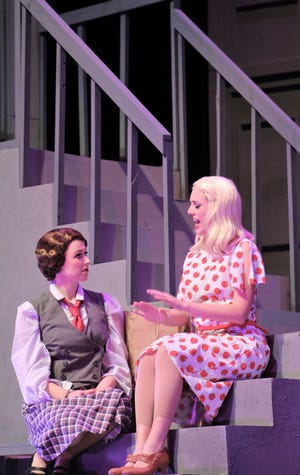 "Ruth (Payton Reeves, left) and her sister Eileen Sherwood (Helena Lynch) talk about their day on the stoop of their basement apartment in this rehearsal scene from ""Wonderful Town,"" Abilene Christian's 2018 homecoming musical."