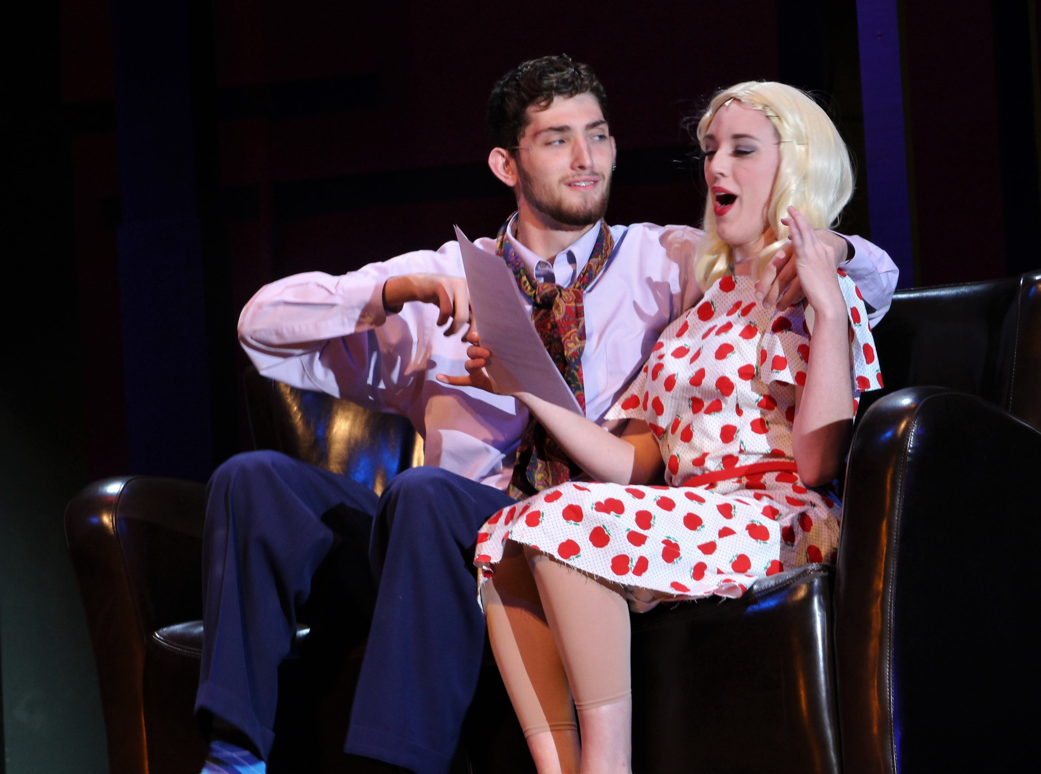 """Eileen Sherwood (Helena Lynch) discovers there is more to her acting audition that just a script and dancing in this rehearsal scene from Abilene Christian's 2018 homecoming musical """"Wonderful Town."""" Mitchell Bradford is the guy trying to make a move on Eileen."""
