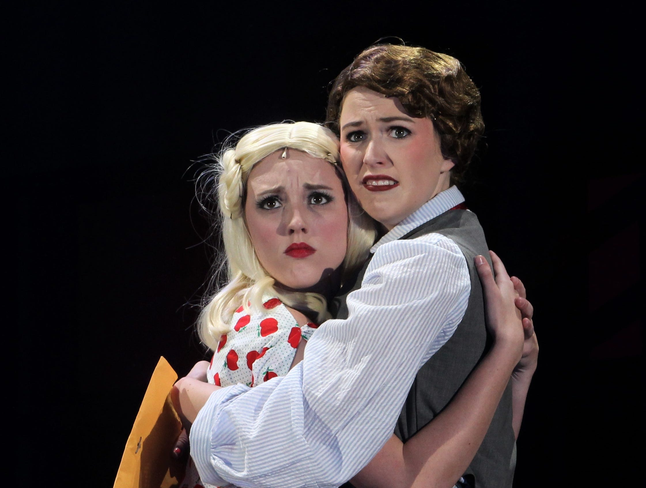 """Eileen (Helena Lynch, left) and Ruth Sherwood (Payton Reeves) find that in times of trouble they still have each other in """"Wonderful Town,"""" Abilene Christian's 2018 homecoming musical that will be performed three times at the Abilene Convention Center."""