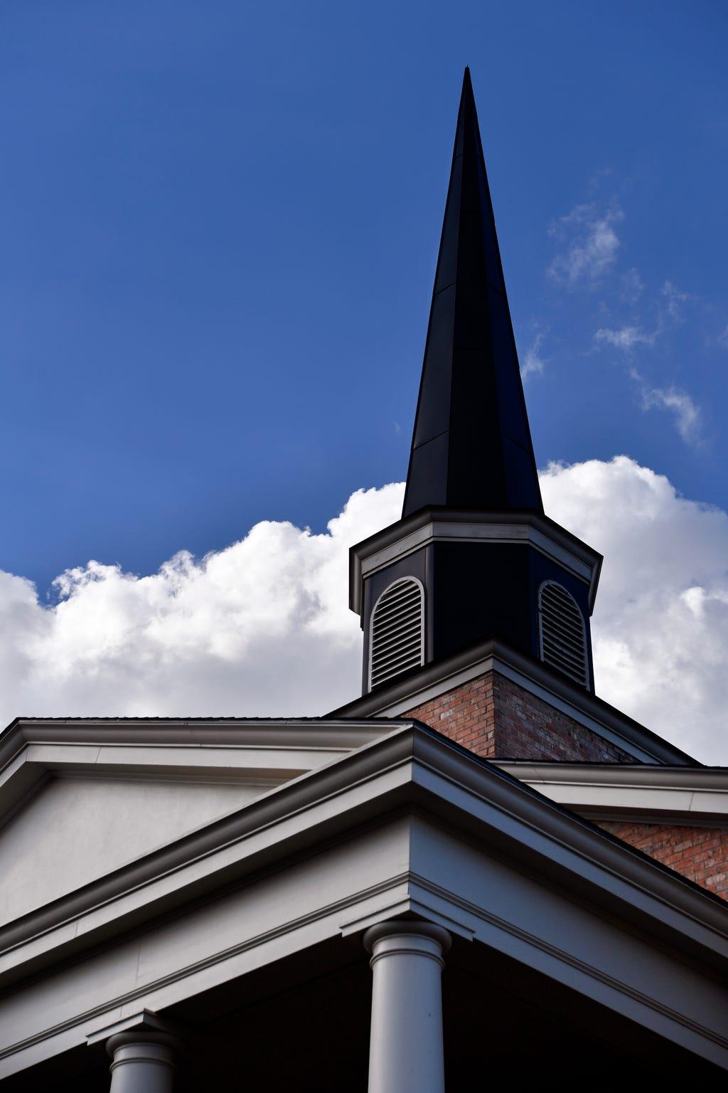 The First Christian Church steeple.
