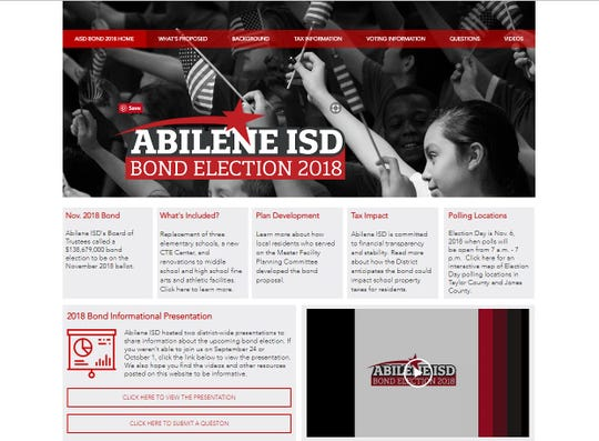 The Abilene Independent School District created www.abileneisdbond.org to share factual information about the school bond and its potential impact.