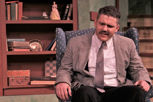 "Sam Benson (Blair Stewart) is anguished about his family situation in this rehearsal scene from McMurry University's ""The Death and Life of Larry Benson."""