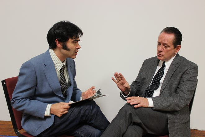 """Willie Repoley as David Frost and Michael MacCauley as Richard Nixon in N.C. Stage Company's """"Frost/Nixon."""""""