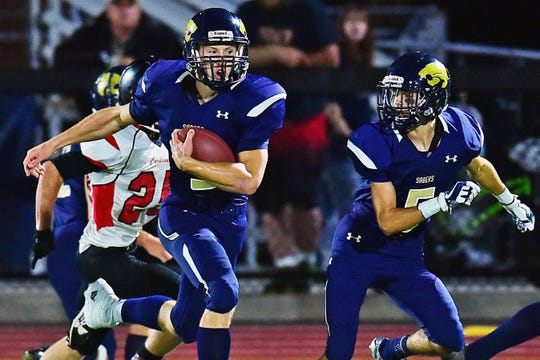 Susquehanna Valley quarterback Jarred Freije (9) carries the ball during Newark Valley at Susquehanna Valley football, October 5, 2018.