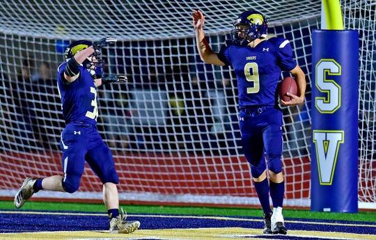 Susquehanna Valley quarterback Jarred Freije (9) after scoring a touchdown during Newark Valley at Susquehanna Valley football, October 5, 2018.