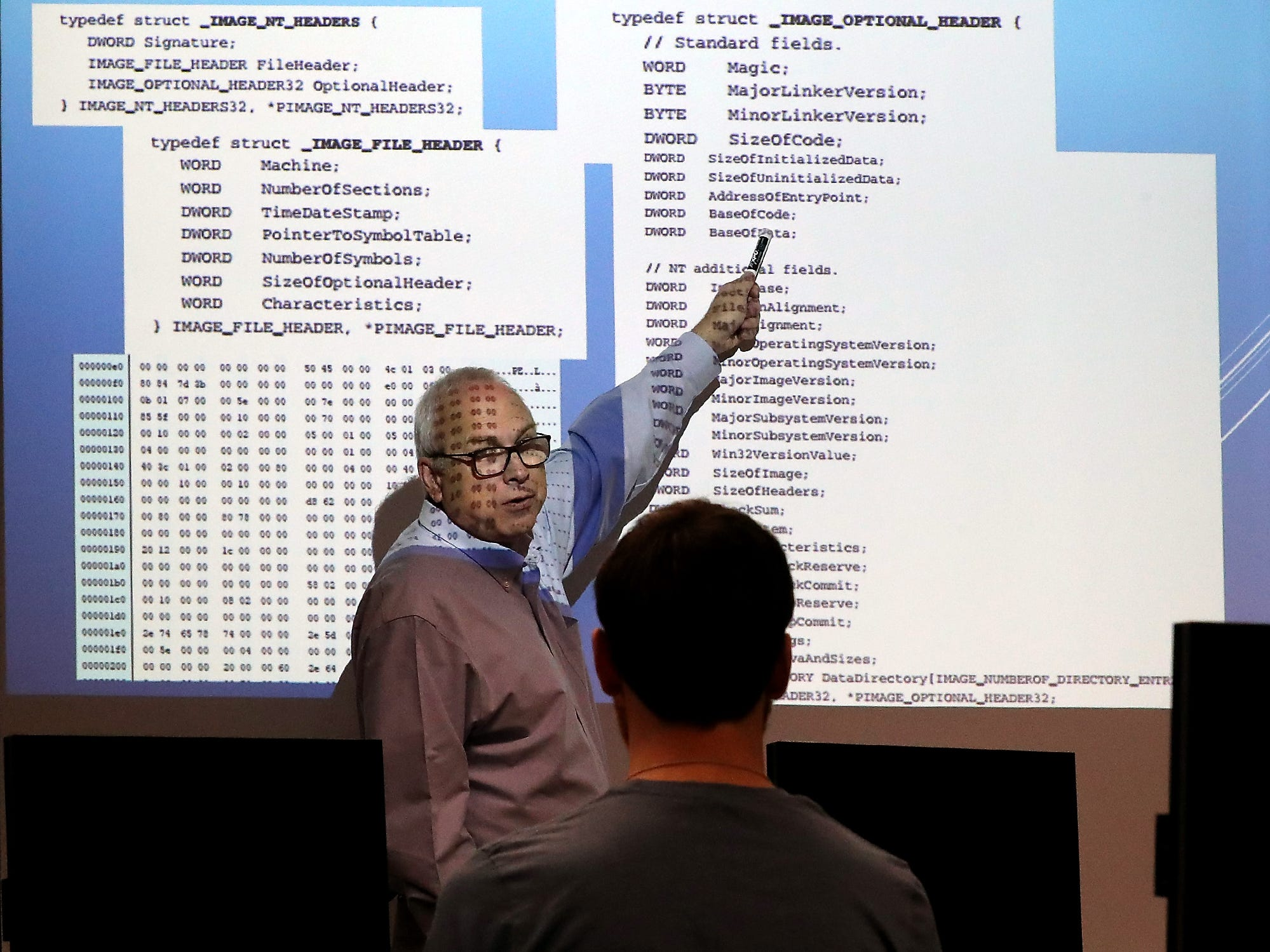 Dr. Erik Fretheim teaches his cybersecurity class at Olympic College in Poulsbo on Tuesday, October 9, 2018.